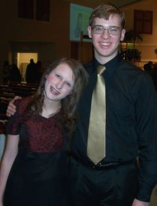 Emma and Johnathan McCravy after singing at a Gwinnett Young Singers concert in Lilburn, Ga.