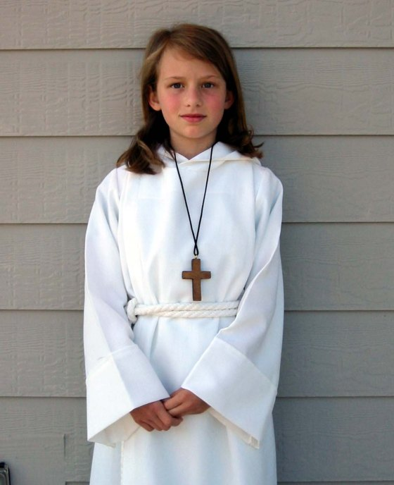 Emma As a church Acolyte in 2002