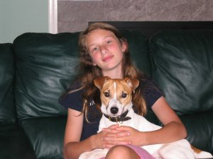 Emma with foster dog, Sam, who was adopted by Sandra Brooks McCravy and Greg McCravy, Lawrenceville, Ga.