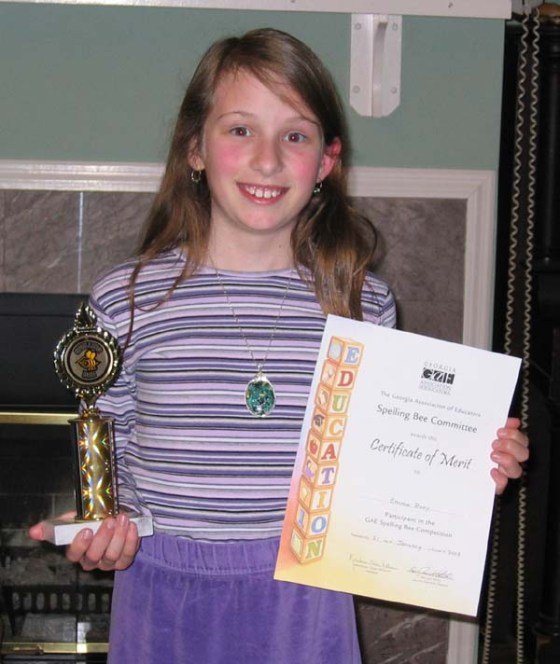 When we homeschooled, Emma won a local spelling bee and then lost out in the next level, but I think she had fun anyway, especially because she beat out a couple of boys that were older than she was!