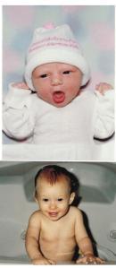 "Emma Katherine Roey Born:  Dec. 19, 1993 6lbs. 12oz. 7:34 AM 19 1/2"" long"