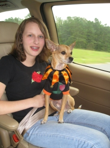 Emma, on the way to a Blessing of the Animals service at our church.  Emma Roey, Emma Katherine Roey, Emma Kate Roey