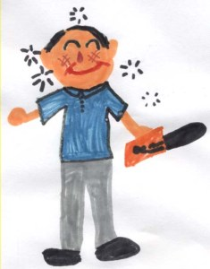 Emma's drawing of her dad with a chainsaw after a few beers.  Emma Katherine Roey, Emma Kate Roey, Emma Roey.