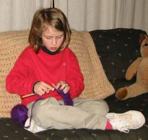 Emma's first try at knitting. Emma Roey, Emma Katherine Roey, Emma Kate Roey, Emma Buchheim