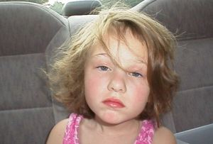 One of my favorite photos of Emma on a ride home from N. Ga.  She woke up like a sleepy little drunk.