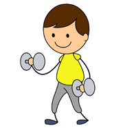 stick figure boy exercising with weights